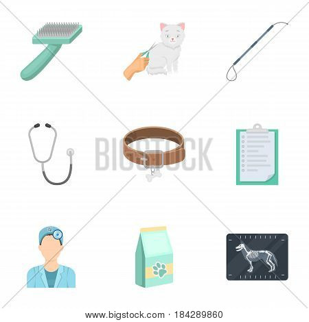 Vet clinic. Treatment of sick animals. Hospital for animals.Vet clinic icon in set collection on cartoon style vector symbol stock web illustration.