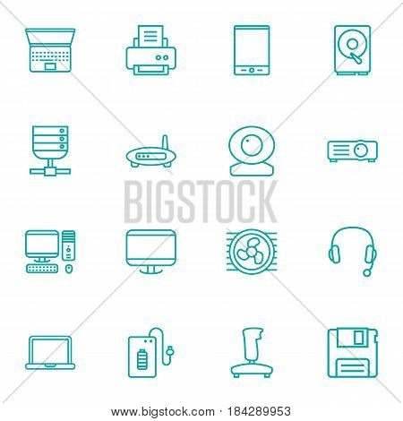 Set Of 16 Laptop Outline Icons Set.Collection Of Tablet, Printer, Server And Other Elements.