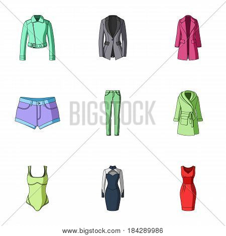 Collection of icons of womens clothing. Various women's clothes for work, walking, sports. Women clothing icon in set collection on cartoon style vector symbol stock web illustration.