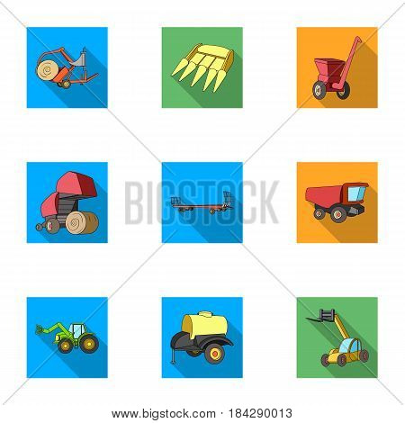 Set of pictures about agricultural machinery. Cars to robots to the ground.Agricultural Machinery icon in set collection on flat style vector symbol stock web illustration.