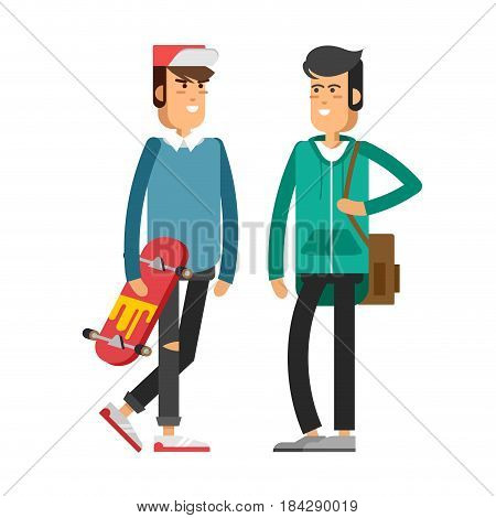 Cool vector hipster man character riding longboard skateboard and chatting with friend. Urban citizen male character