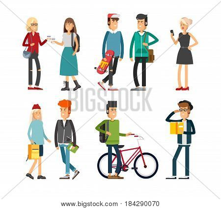 Flat illustratuion set of students. Fashion modern people. Young and stylish girl and boy. Hipster students. Trendy youth. Beautiful young people. Friends