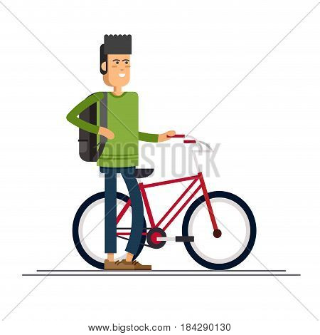 Hipster guy having fun riding bicycle with backpack . Guy having free time on weekend. Summer break outdoor recreation. Happy man riding bike. Vector character