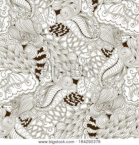Tracery Seamless Calming Pattern. Mehendi Design. Neat Even Binary Harmonious Doodle Texture. Algae