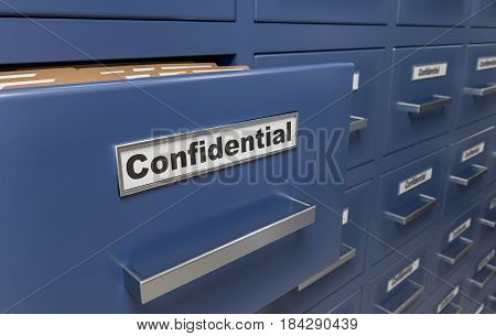 Many Confidential Files And Folders In Cabinets. 3D Rendered Ill