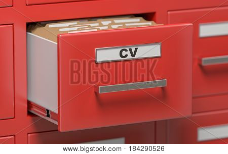 Cabinet Full Of Cv (curriculum Vitae) Documents And Files. 3D Re