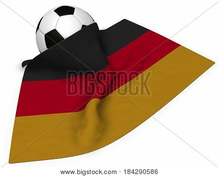 soccerball and flag of germany - 3d rendering