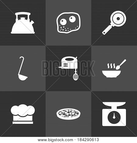 Set Of 9 Cooking Icons Set.Collection Of Weighing Machine, Broth, Non-Stick And Other Elements.