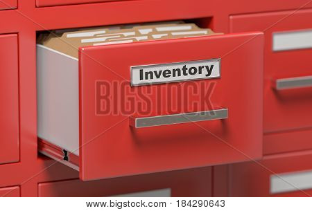 Inventory Documents And Files In Cabinet In Office. 3D Rendered