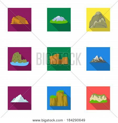 Set of icons about different mountains. Winter, summer mountains in one collection.Different mountains icon in set collection on flat style vector symbol stock web illustration.