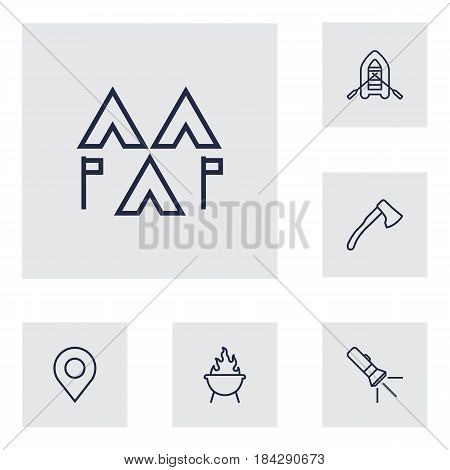Set Of 6 Picnic Outline Icons Set.Collection Of Encampment, Pocket Torch, Ax And Other Elements.