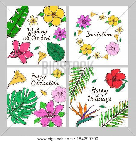 Colored floral decorative invitation cards set with exotic flowers and leaves in hand drawn style vector illustration