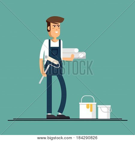 Male character house painter vector flat characters with paint equipment. Young man friendly smiling workers in workwear standing isolated holding roller and paperhangings