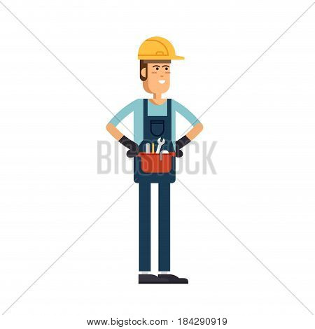 Construction worker vector flat character. Young man friendly smiling worker in workwear overalls standing isolated and holding building tools. Buildin specialist ready for work
