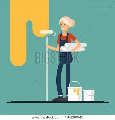 Young female house painter vector flat characters with paint equipment. Woman friendly smiling workers in workwear standing isolated holding roller and paperhangings