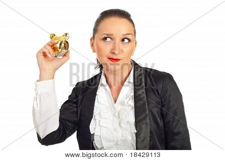 Woman Trying To Hear The Sound Of Coins