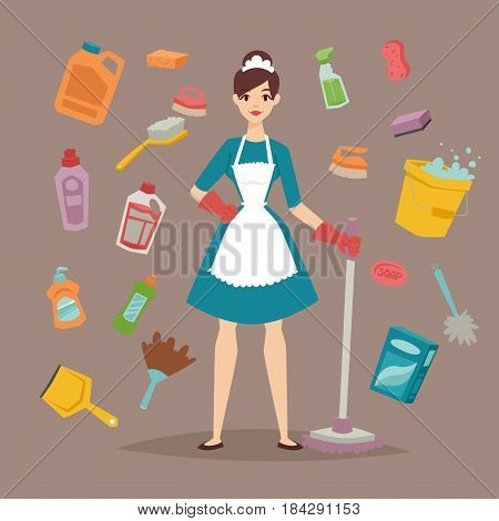 Housewife girl homemaker cleaning pretty girl wash cleanser chemical housework product equipment cleaning liquid flat vector illustration. Hygiene domestic container toiletries household tool.