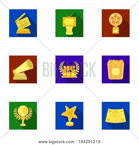 A set of awards for the movie viewings. Gold, silver and bronze awards to the Director, the actor. Moovie awards icon in set collection on flat style vector symbol stock web illustration.