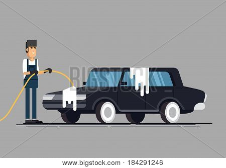 Worker washing a car at the carwash. Cool vector flat illustration on clean car.