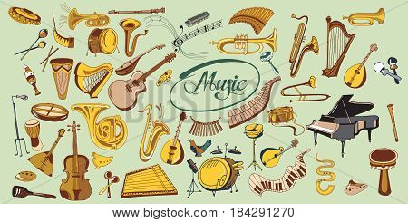 Colorful doodle music elements set with percussion keyboard wind string instruments microphone notes treble clef isolated vector illustration