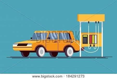 Gas station. Filling fills petrol into the car. Yellow car on gas station.