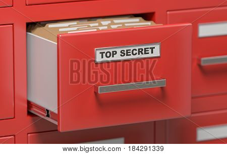 Top Secret Files And Documents In Cabinets In Office. 3D Rendere