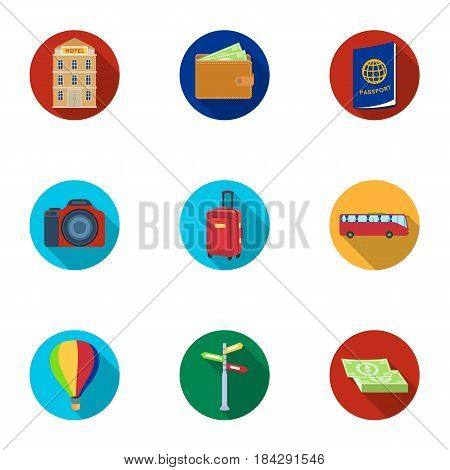 Set of icons on the theme of rest. Travel abroad. Rest ang travel icon in set collection on flat style vector symbol stock web illustration.