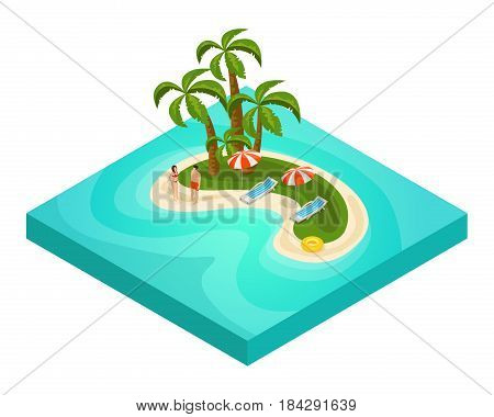 Isometric tropical beach vacation concept with tourists palm trees umbrellas chaise lounges lifebuoy on island vector illustration