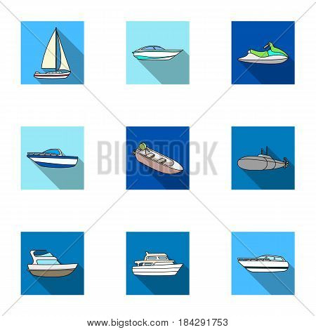 Sea transport, boats, ships. To transport people, thunderstorms. Ship and water transport icon in set collection on flat style vector symbol stock web illustration.