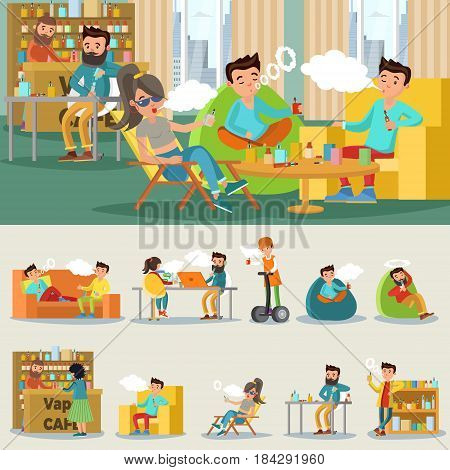 Colorful vape cafe concept with people smoking electronic cigarettes in different positions isolated vector illustration