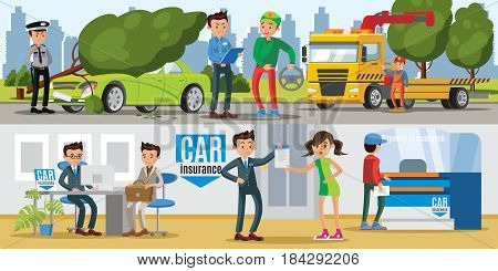 Car insurance horizontal banners with people in office and evacuation of damaged vehicle after natural disaster vector illustration