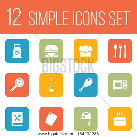 Set Of 12 Kitchen Icons Set.Collection Of Non-Stick, Silverware, Poultry Foot And Other Elements.