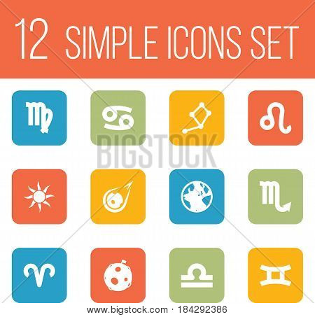Set Of 12 Horoscope Icons Set.Collection Of Zodiac Sign, Comet, Scales And Other Elements.