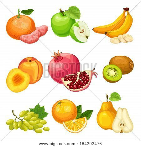 Cartoon healthy fruits set with apple orange banana pear peach pomegranate kiwi tangerine grapes bunch isolated vector illustration