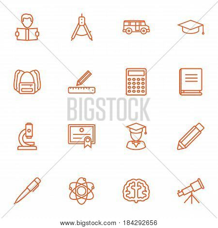 Set Of 16 Studies Outline Icons Set.Collection Of Microscope, Compass, Encyclopedia And Other Elements.