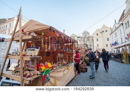 Cesky Krumlov, Czech Republic - 14 April 2017 : People Walking, Shopping Around Easter Market In Svo