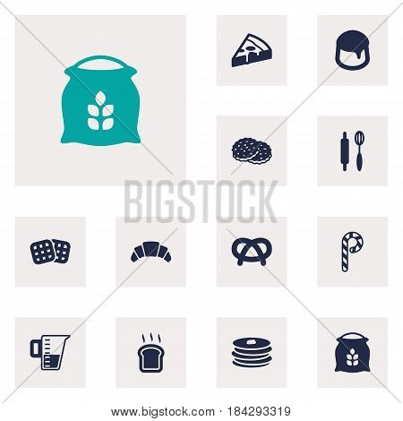 Set Of 12  Icons Set.Collection Of Snack, Sack, Whisk And Other Elements.