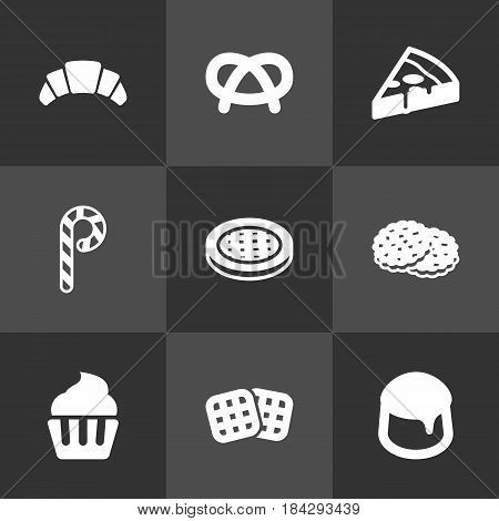 Set Of 9  Icons Set.Collection Of Wafer, Muffin, Dessert And Other Elements.