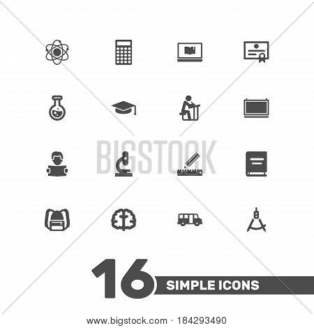 Set Of 16 Science Icons Set.Collection Of Rucksack, Microbiology, Student And Other Elements.