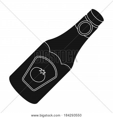 A bottle of ketchup.BBQ single icon in black style vector symbol stock illustration .