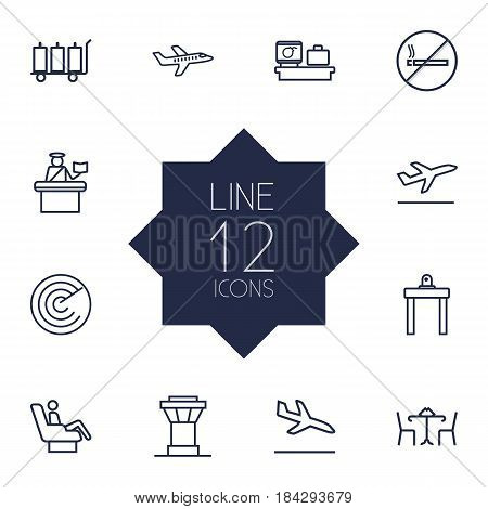 Set Of 12 Airplane Outline Icons Set.Collection Of Control Tower, Cafe, No Smoking And Other Elements.