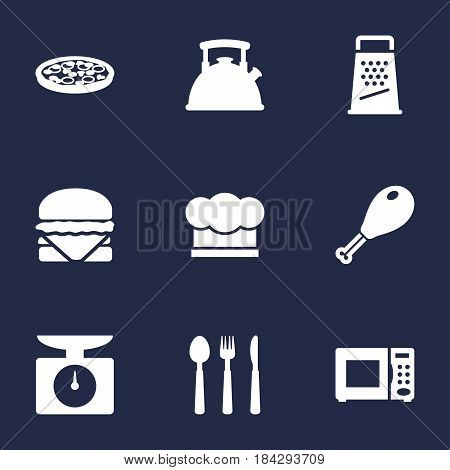 Set Of 9 Culinary Icons Set.Collection Of Kitchen Rasp, Poultry Foot, Sandwich Elements.