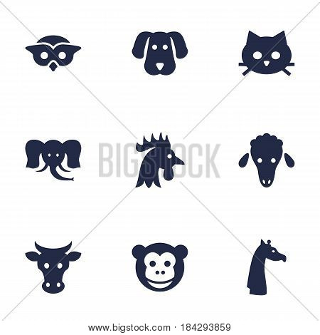 Set Of 9 Alive Icons Set.Collection Of Hound, Rooster, Ape And Other Elements.