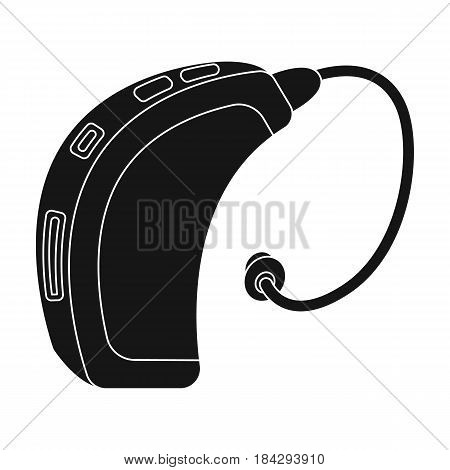 Hearing aid.Old age single icon in black style vector symbol stock illustration .