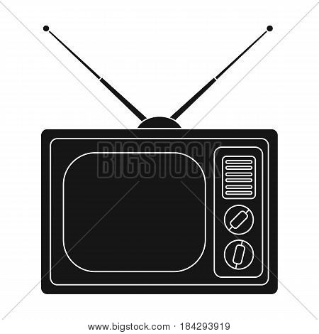 Old TV.Old age single icon in black style vector symbol stock illustration .