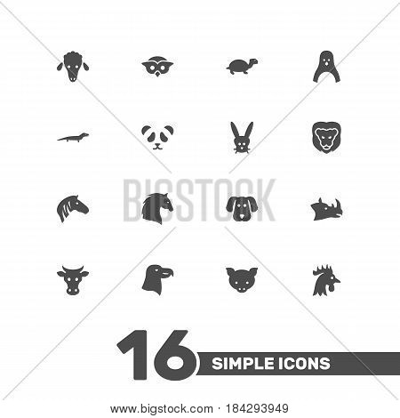 Set Of 16 Brute Icons Set.Collection Of Steed, Rooster, Night Fowl And Other Elements.