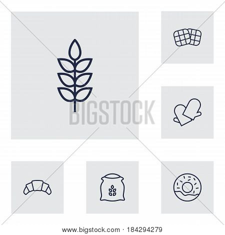 Set Of 6 Cook Outline Icons Set.Collection Of Gloves, Flour, Croissant And Other Elements.
