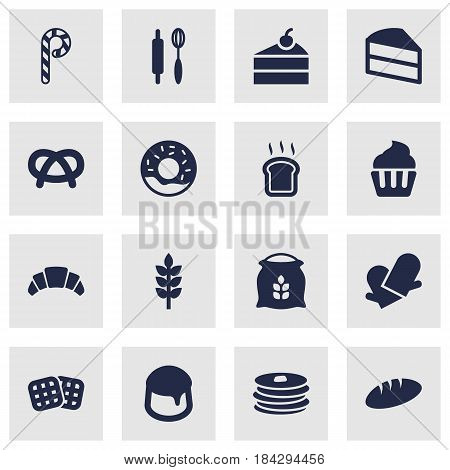 Set Of 16 Bakery Icons Set.Collection Of Whisk, Striped Lollipop, Sack And Other Elements.