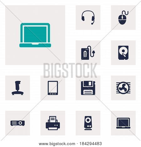 Set Of 12 Laptop Icons Set.Collection Of Peripheral, Show, Fan And Other Elements.