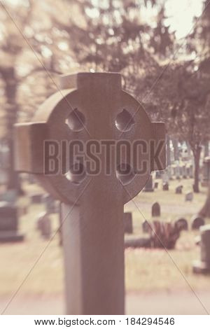 Celtic Cross In Cemetery